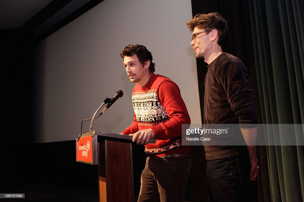 Actor/director <a gi-track='captionPersonalityLinkClicked' href=/galleries/search?phrase=James+Franco&family=editorial&specificpeople=577480 ng-click='$event.stopPropagation()'>James Franco</a> and director Travis Mathews speak onstage at 'Interior. Leather Bar' Premiere during the 2013 Sundance Film Festival at Prospector Square on January 19, 2013 in Park City, Utah.