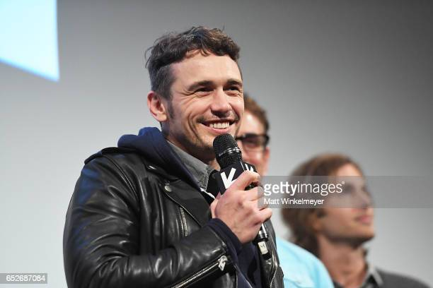 Actor/director James Franco speaks onstage during the 'The Disaster Artist' premiere 2017 SXSW Conference and Festivals on March 12 2017 in Austin...