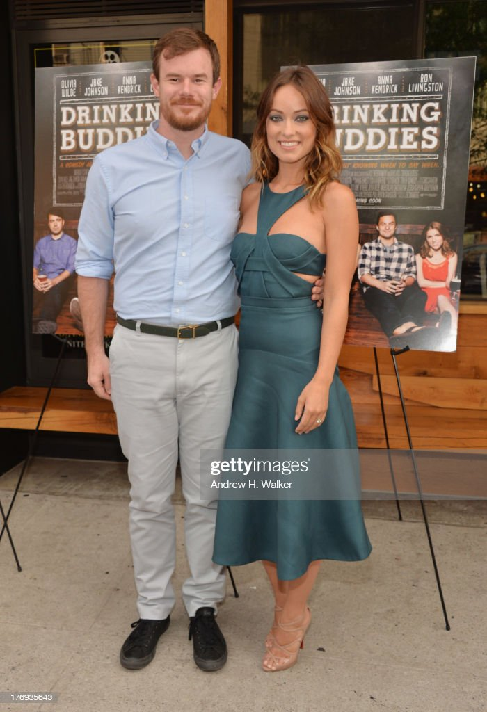 Actor/director Joe Swanberg and actress <a gi-track='captionPersonalityLinkClicked' href=/galleries/search?phrase=Olivia+Wilde&family=editorial&specificpeople=235399 ng-click='$event.stopPropagation()'>Olivia Wilde</a> attend the 'Drinking Buddies' screening at Nitehawk Cinema on August 19, 2013 in the Brooklyn borough of New York City.