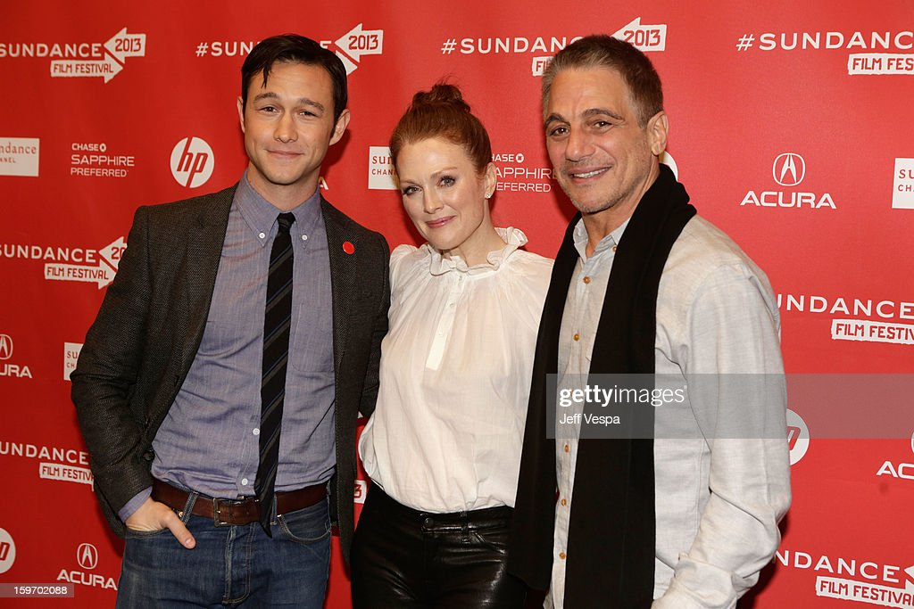 Actor/director <a gi-track='captionPersonalityLinkClicked' href=/galleries/search?phrase=Joseph+Gordon-Levitt&family=editorial&specificpeople=213632 ng-click='$event.stopPropagation()'>Joseph Gordon-Levitt</a> and actors <a gi-track='captionPersonalityLinkClicked' href=/galleries/search?phrase=Julianne+Moore&family=editorial&specificpeople=171555 ng-click='$event.stopPropagation()'>Julianne Moore</a> and <a gi-track='captionPersonalityLinkClicked' href=/galleries/search?phrase=Tony+Danza&family=editorial&specificpeople=203133 ng-click='$event.stopPropagation()'>Tony Danza</a> attend 'Don Jon's Addiction' Premiere during the 2013 Sundance Film Festival at Eccles Center Theatre on January 18, 2013 in Park City, Utah.