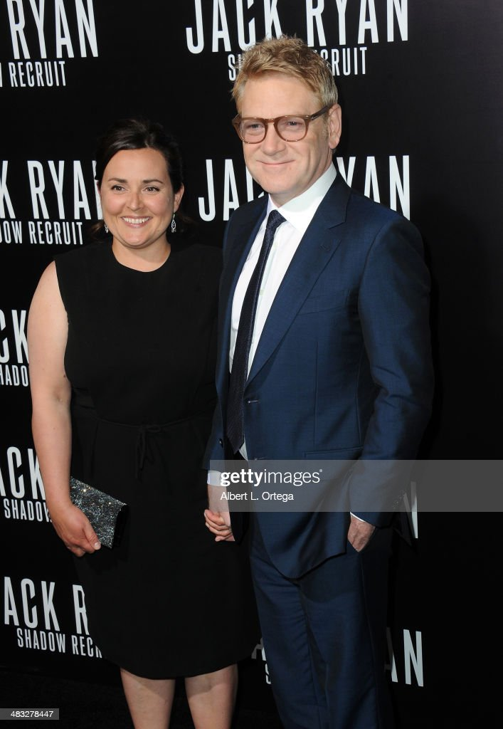 Actor/director <a gi-track='captionPersonalityLinkClicked' href=/galleries/search?phrase=Kenneth+Branagh&family=editorial&specificpeople=213618 ng-click='$event.stopPropagation()'>Kenneth Branagh</a> and Lindsay Brunnock arrive at the Premiere Of Paramount Pictures' 'Jack Ryan: Shadow Recruit' held at TCL Chinese Theatre on January 15, 2014 in Hollywood, California.