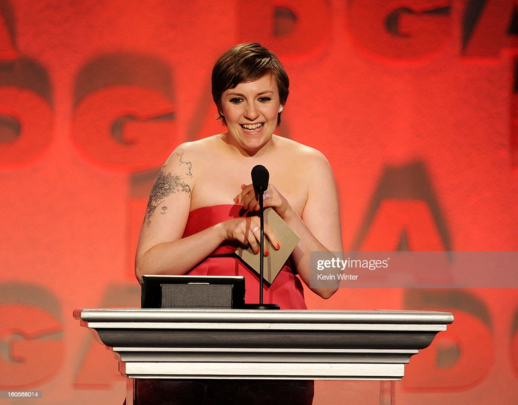 Actor/director Lena Dunham accepts the Outstanding Directorial Achievement in Comedy Series for 2012 award for 'Girls' pilot episode onstage during the 65th Annual Directors Guild Of America Awards at Ray Dolby Ballroom at Hollywood & Highland on February 2, 2013 in Los Angeles, California.