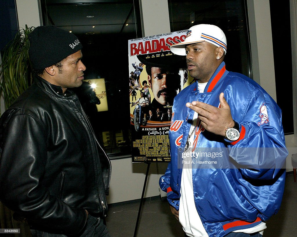 Actor/Director Mario Van Peebles (L) and CEO of Roc-A-Fella Records/Rocawear Damon Dash attend a viewing of 'Baadasssss!' at the Sony Screening Room, April 12, 2004 in New York City.