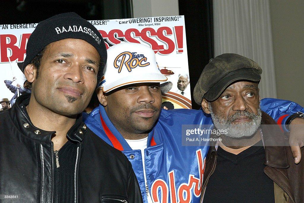 Actor/Director Mario Van Peebles, CEO of Roc-A-Fella Records/Rocawear Damon Dash and actor Melvin Van Peebles attend a viewing of 'Baadasssss!' at the Sony Screening Room, April 12, 2004 in New York City.