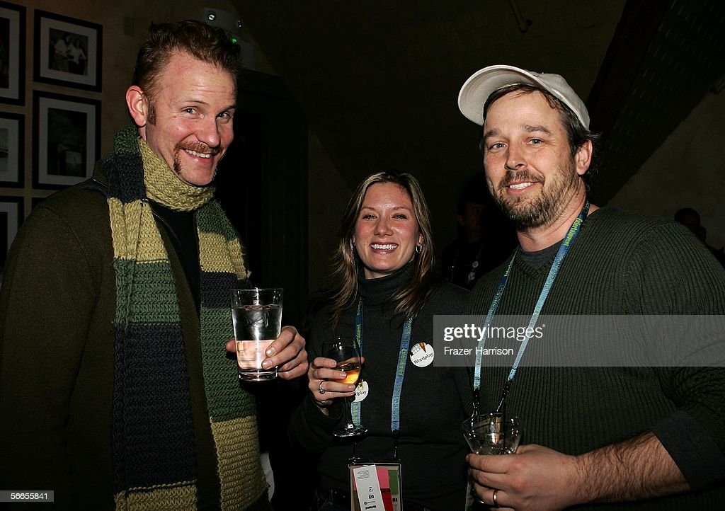 Actor/Director Morgan Spurlock, Producer Christine O'Mally, and Director Patrick Frieden arrive to the Cinetic Media Party at the Sundance Film Festival held at Zoom on January 23, 2006 in Park City, Utah.