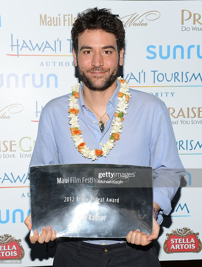 Actor/Director/ Producer <a gi-track='captionPersonalityLinkClicked' href=/galleries/search?phrase=Josh+Radnor&family=editorial&specificpeople=599413 ng-click='$event.stopPropagation()'>Josh Radnor</a> receives the 2012 Triple Threat Award at the 2012 Maui Film Festival at the Celestial Cinema on June 13, 2012 in Wailea, Hawaii.