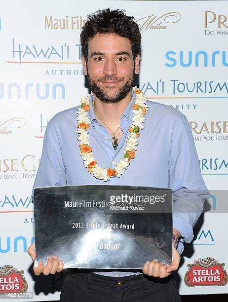Actor/Director/ Producer Josh Radnor receives the 2012 Triple Threat Award at the 2012 Maui Film Festival at the Celestial Cinema on June 13 2012 in...