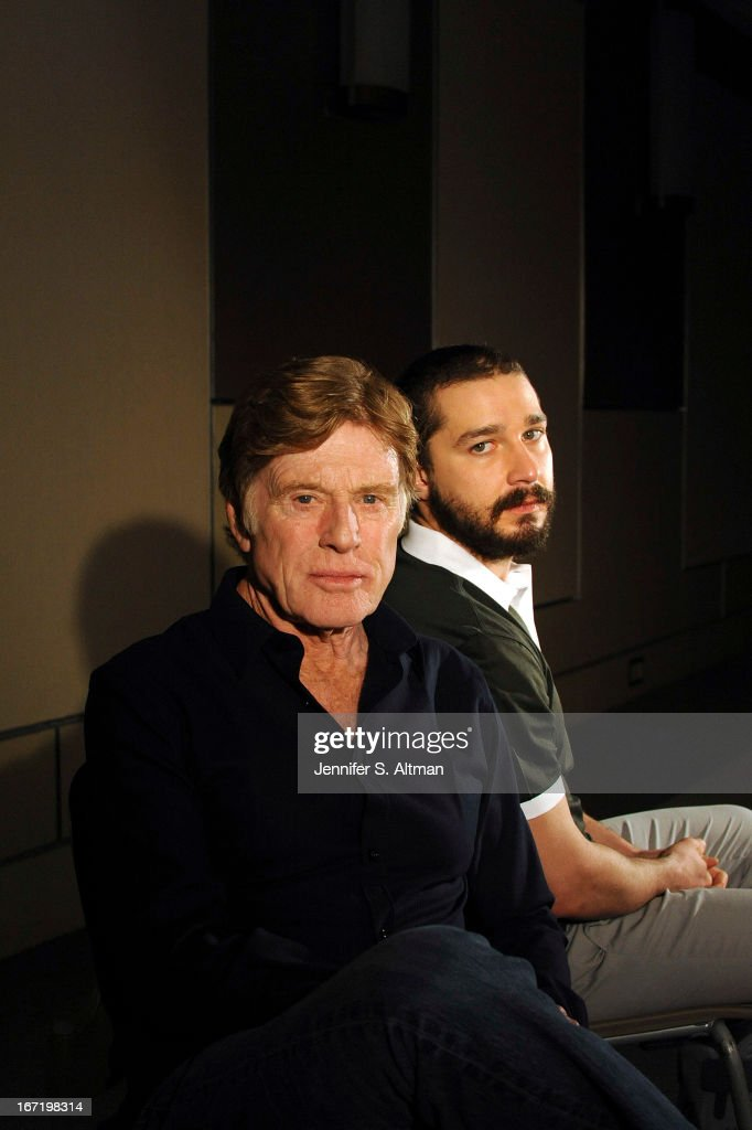 Actor/director Robert Redford and actor Shia LaBeouf are photographed for Los Angeles Times on April 1, 2013 in New York City. PUBLISHED