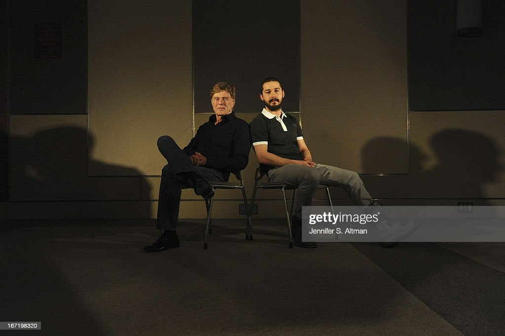 Actor/director Robert Redford and actor Shia LaBeouf are photographed for Los Angeles Times on April 1, 2013 in New York City.