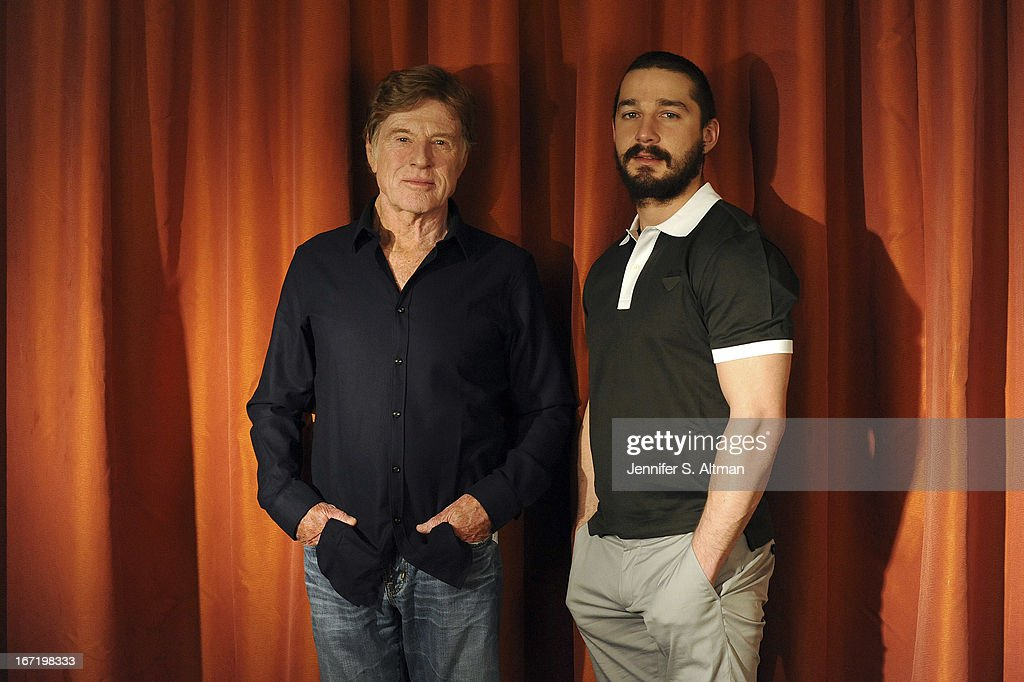 Actor/director <a gi-track='captionPersonalityLinkClicked' href=/galleries/search?phrase=Robert+Redford&family=editorial&specificpeople=202897 ng-click='$event.stopPropagation()'>Robert Redford</a> and actor Shia LaBeouf are photographed for Los Angeles Times on April 1, 2013 in New York City.