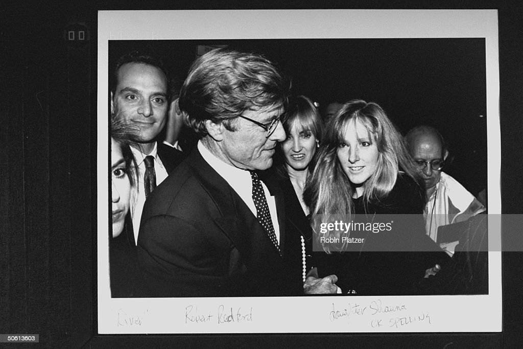 Actor/director Robert Redford w. daughter Shauna (L) & date Kathy O'Rear (C) at benefit for the Natural Resources Defense Council, following the premiere of the film A River Runs Through It, at Roseland.