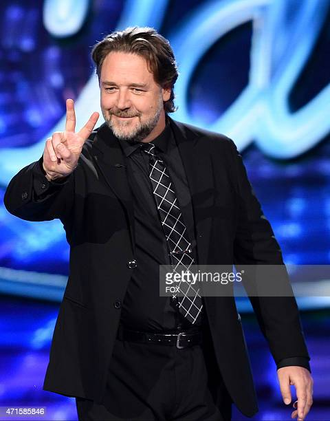 Actor/director Russell Crowe onstage at FOX's 'American Idol XIV' Top 4 Revealed on April 22 2015 in Hollywood California
