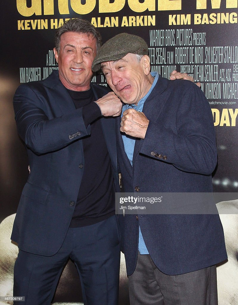 Actor/director <a gi-track='captionPersonalityLinkClicked' href=/galleries/search?phrase=Sylvester+Stallone&family=editorial&specificpeople=202604 ng-click='$event.stopPropagation()'>Sylvester Stallone</a> and actor <a gi-track='captionPersonalityLinkClicked' href=/galleries/search?phrase=Robert+De+Niro&family=editorial&specificpeople=201673 ng-click='$event.stopPropagation()'>Robert De Niro</a> attend the 'Grudge Match' screening benifiting the Tribeca Film Insititute at Ziegfeld Theater on December 16, 2013 in New York City.