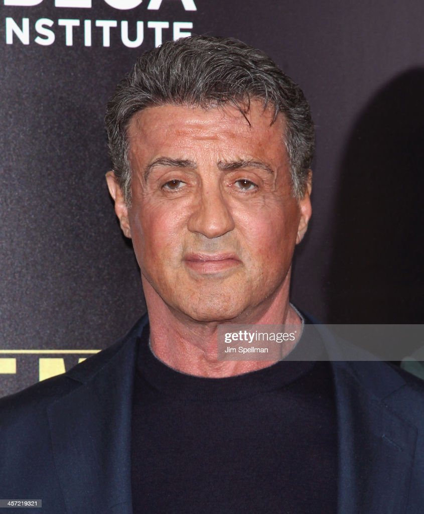 Actor/director <a gi-track='captionPersonalityLinkClicked' href=/galleries/search?phrase=Sylvester+Stallone&family=editorial&specificpeople=202604 ng-click='$event.stopPropagation()'>Sylvester Stallone</a> attends the 'Grudge Match' screening benifiting the Tribeca Film Insititute at Ziegfeld Theater on December 16, 2013 in New York City.