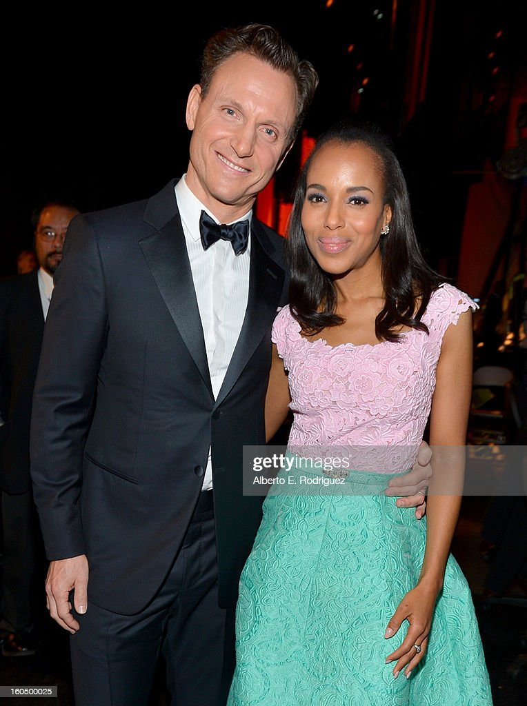 Actor/director Tony Goldwyn (L) and actress Kerry Washington attend the 44th NAACP Image Awards at The Shrine Auditorium on February 1, 2013 in Los Angeles, California.