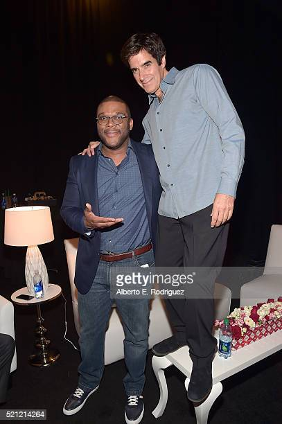 "Actor/Director Tyler Perry and illusionist David Copperfield attend CinemaCon 2016 ""Experience the Magic of Lionsgate' A 2016 Sneak Peek and Special..."
