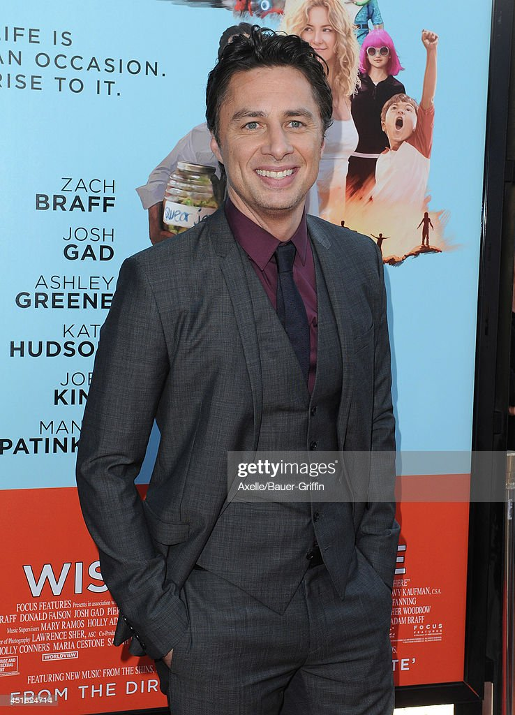 Actor/director <a gi-track='captionPersonalityLinkClicked' href=/galleries/search?phrase=Zach+Braff&family=editorial&specificpeople=203253 ng-click='$event.stopPropagation()'>Zach Braff</a> arrives at the Los Angeles Premiere 'Wish I Was Here' at the DGA Theater on June 23, 2014 in Los Angeles, California.