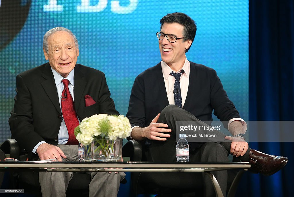 Actor/Director/Writer Mel Brooks and filmmaker Robert Trachtenberg of 'AMERICAN MASTERS 'Mel Brooks: Make a Noise' ' speak onstage during the PBS portion of the 2013 Winter Television Critics Association Press Tour at the Langham Huntington Hotel & Spa on January 14, 2013 in Pasadena, California.