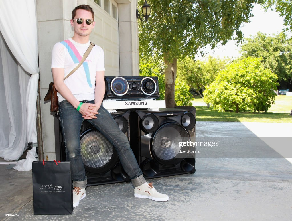 Actor/DJ <a gi-track='captionPersonalityLinkClicked' href=/galleries/search?phrase=Elijah+Wood&family=editorial&specificpeople=171364 ng-click='$event.stopPropagation()'>Elijah Wood</a> attends LACOSTE L!VE 4th Annual Desert Pool Party on April 14, 2013 in Thermal, California.