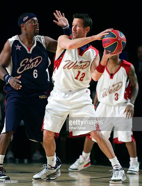 Actor/east coast player defends against actor/west coast player James Denton during the McDonald's NBA AllStar Celebrity Game presented by 2K Sports...