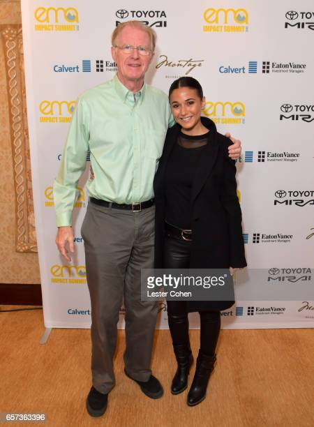 Actor/environmental activist Ed Begley Jr and actor/activist Emmanuelle Chriqui attend the EMA IMPACT Summit hosted by the Environmental Media...