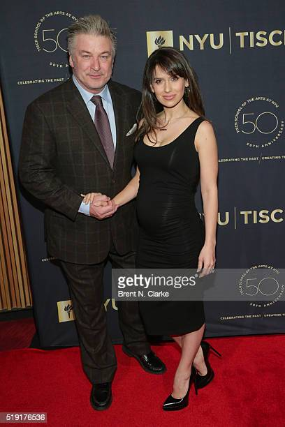 Actor/event host Alec Baldwin and yoga instructor Hilaria Baldwin attend the NYU Tisch School of the Arts 50th Anniversary Gala held at Frederick P...