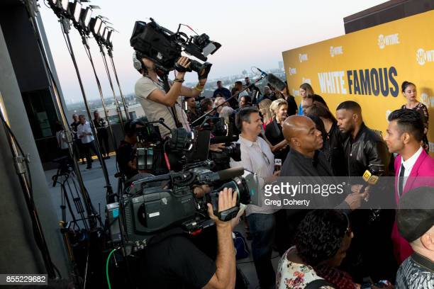 Actor/Executive Producer Jamie Foxx and Actor Utkarsh Ambudkar attend the Premiere Of Showtime's 'White Famous' at The Jeremy Hotel on September 27...