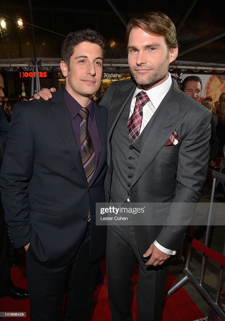 Actor/Executive Producer Jason Biggs and actor Seann William Scott arrive at the 'American Reunion' Los Angeles Premiere March 19 2012 in Hollywood...