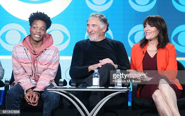 Actor/executive producer Jermaine Fowler and actors Judd Hirsch and Katey Sagal of the television show 'Superior Donuts' speak onstage during the CBS...