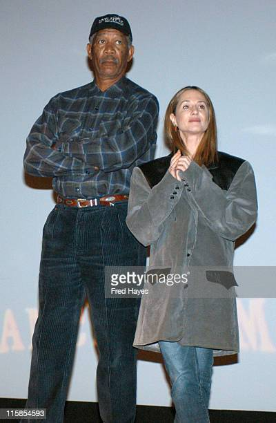 Actor/executive producer Morgan Freeman gave Holly Hunter his coat