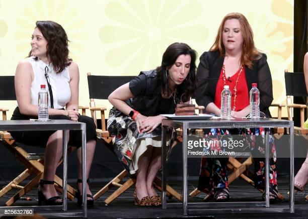 Actor/executive producer Rachel Bloom executive producer Aline Brosh McKenna and actor Donna Lynne Champlin of 'Crazy ExGirlfriend' celebrate Aline...