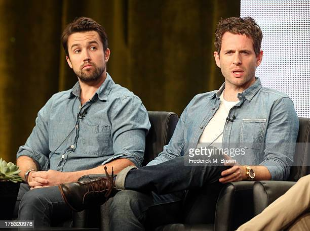 Actor/Executive Producer Rob McElhenney and actor/Executive Producer Glenn Howerton speak onstage during the 'It's Always Sunny in Philadelphia'...