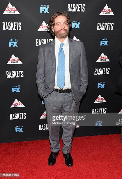 Actor/Executive Producer Zach Galifianakis attends the premiere of FX's 'Baskets' at Pacific Design Center on January 14 2016 in West Hollywood...