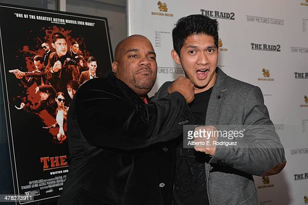 Actor/fight choreographer Larnell Stovall and actor Iko Uwais arrive to the premiere of Sony Pictures Classics' 'The Raid 2' at Harmony Gold Theatre...
