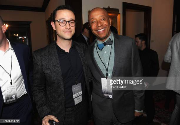 Actor/Filmmaker and Founder of hitRecord Joseph GordonLevitt and Chairman and CEO of Rush Communications Russell Simmons attend the Kairos Society...
