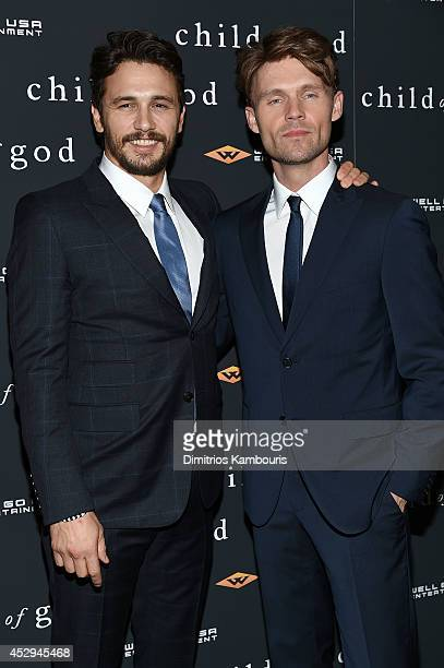 Actor/filmmaker James Franco and actor Scott Haze attend the 'Child Of God' premiere at Tribeca Grand Hotel on July 30 2014 in New York City