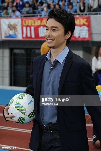 ActorHiroki Hasegawa looks on prior to the JLeague match between Kawasaki Frontale and FC Tokyo at the Todoroki Stadium on July 23 2016 in Kawasaki...