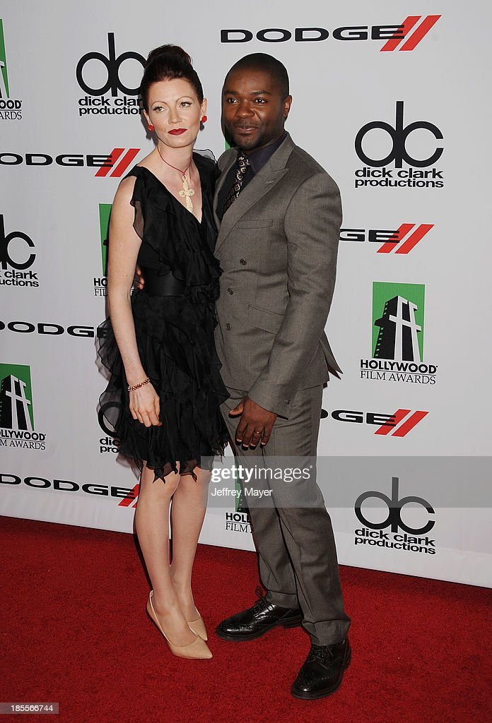 Actor/honoree David Oyelowo (R) and wife Jessica Oyelowo arrive at the 17th Annual Hollywood Film Awards at The Beverly Hilton Hotel on October 21, 2013 in Beverly Hills, California.