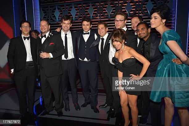 Actor/honoree James Franco poses with actor/comedians Andy Samberg Jeffrey Ross Bill Hader Jonah Hill Natasha Leggero Seth Rogen Nick Kroll Aziz...