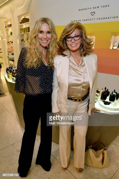 Actor/host Alana Stewart and actor Raquel Welch attend Barneys New York Celebration of the Farrah Fawcett Foundation at Barneys New York Beverly...