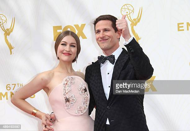Actor/host Andy Samberg and wife Joanna Newsom arrive at the 67th Annual Primetime Emmy Awards at the Microsoft Theater on September 20 2015 in Los...