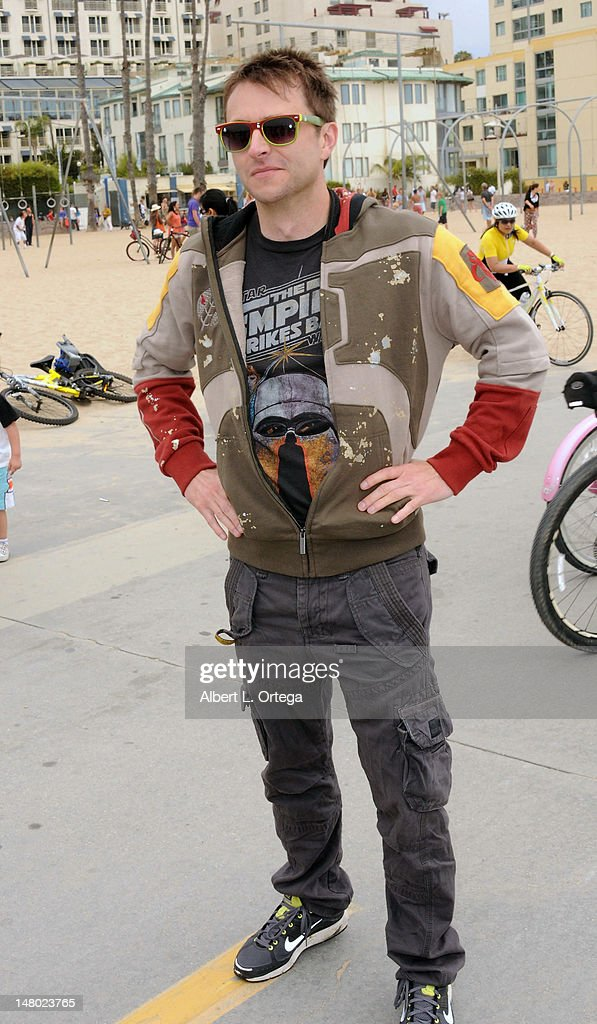 Actor/host Chris Hardwick participates in The Inaugural 'Course Of The Force' Olympic Relay Run with lightsabers to Benefit The Make-A-Wish Foundation hosted by LucasFilm, Nerdist Industries and Octagon held at The Santa Monica Pier on July 7, 2012 in Santa Monica, California.