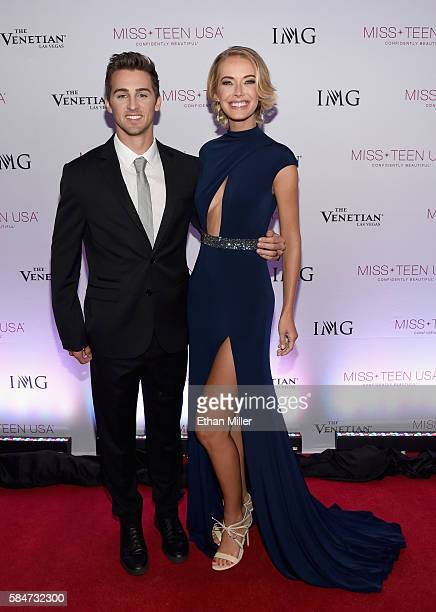Actor/host Cody Johns and Miss USA 2015 Olivia Jordan attend the 2016 Miss Teen USA Competition at The Venetian Las Vegas on July 30 2016 in Las...