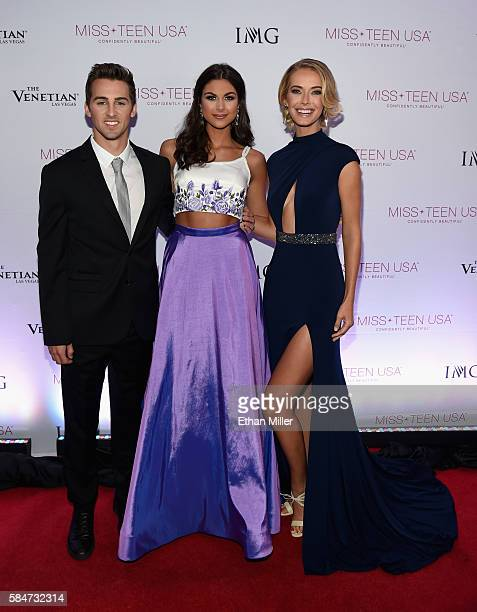 Actor/host Cody Johns Miss Teen USA 2015 Katherine Haik and Miss USA 2015 Olivia Jordan attend the 2016 Miss Teen USA Competition at The Venetian Las...