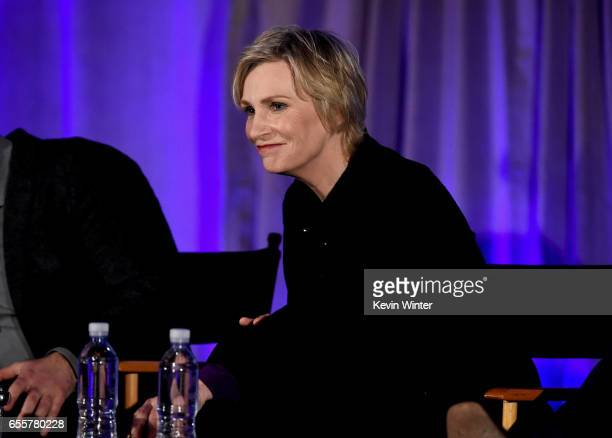 Actor/host Jane Lynch of ''Hollywood Game Night' speaks onstage during the 2017 NBCUniversal Summer Press Day at The Beverly Hilton Hotel on March 20...