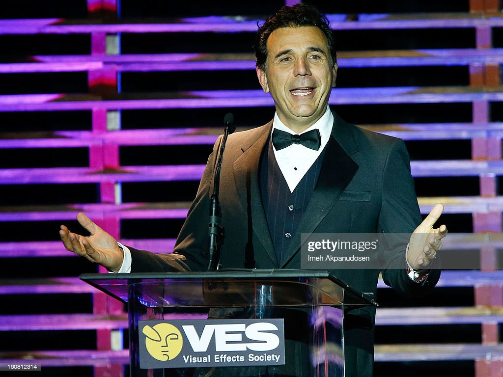 Actor/host Mark DeCarlo speaks onstage at the 11th Annual Visual Effects Society Awards at The Beverly Hilton Hotel on February 5, 2013 in Beverly Hills, California.