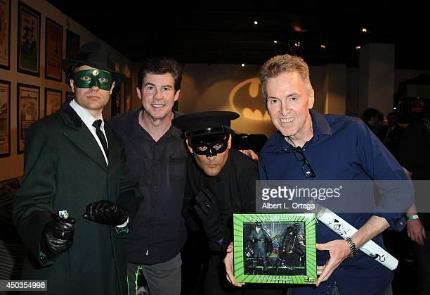Actor/host Ralph Garman and DC Editor Jim Chadwick with The Green Hornet abd Kato at the 'Batman 66 Meets The Green Hornet' Comic Book Kickoff Fatman...