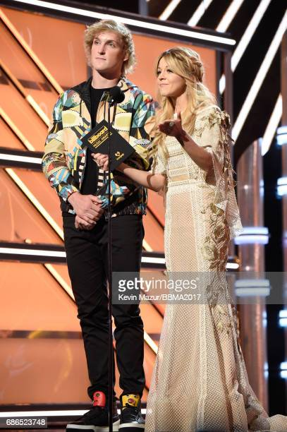ActorInternet personality Logan Paul and recording artist Lindsey Stirling speak onstage during the 2017 Billboard Music Awards at TMobile Arena on...
