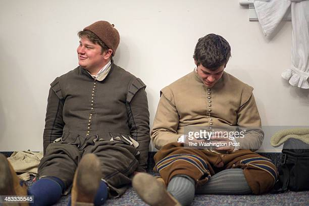 Actor/interpreters relax before their performance commemorating the 400th anniversary of the wedding between John Rolfe and Pocahontas on Saturday...