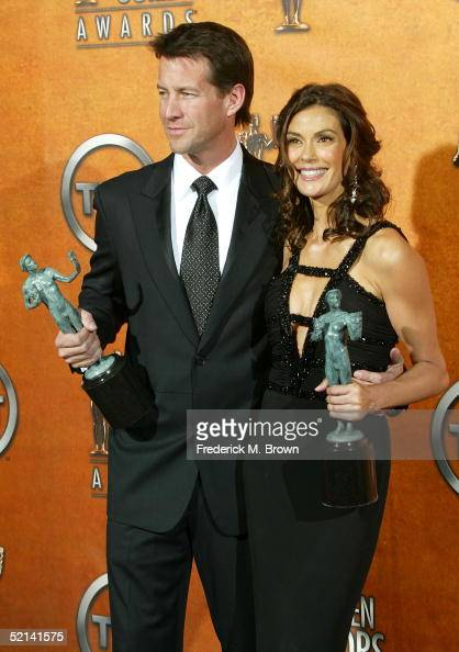 ActorJames Denton and actress Teri Hatcher poses in the press room with her Actor for Outstanding Performance by a Female Actor in a Comedy Series...